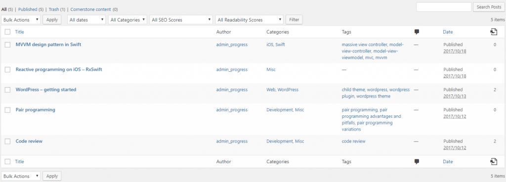 WordPress posts overview